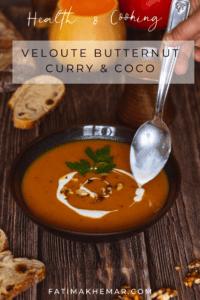 Velouté de courge butternut, curry & lait de coco