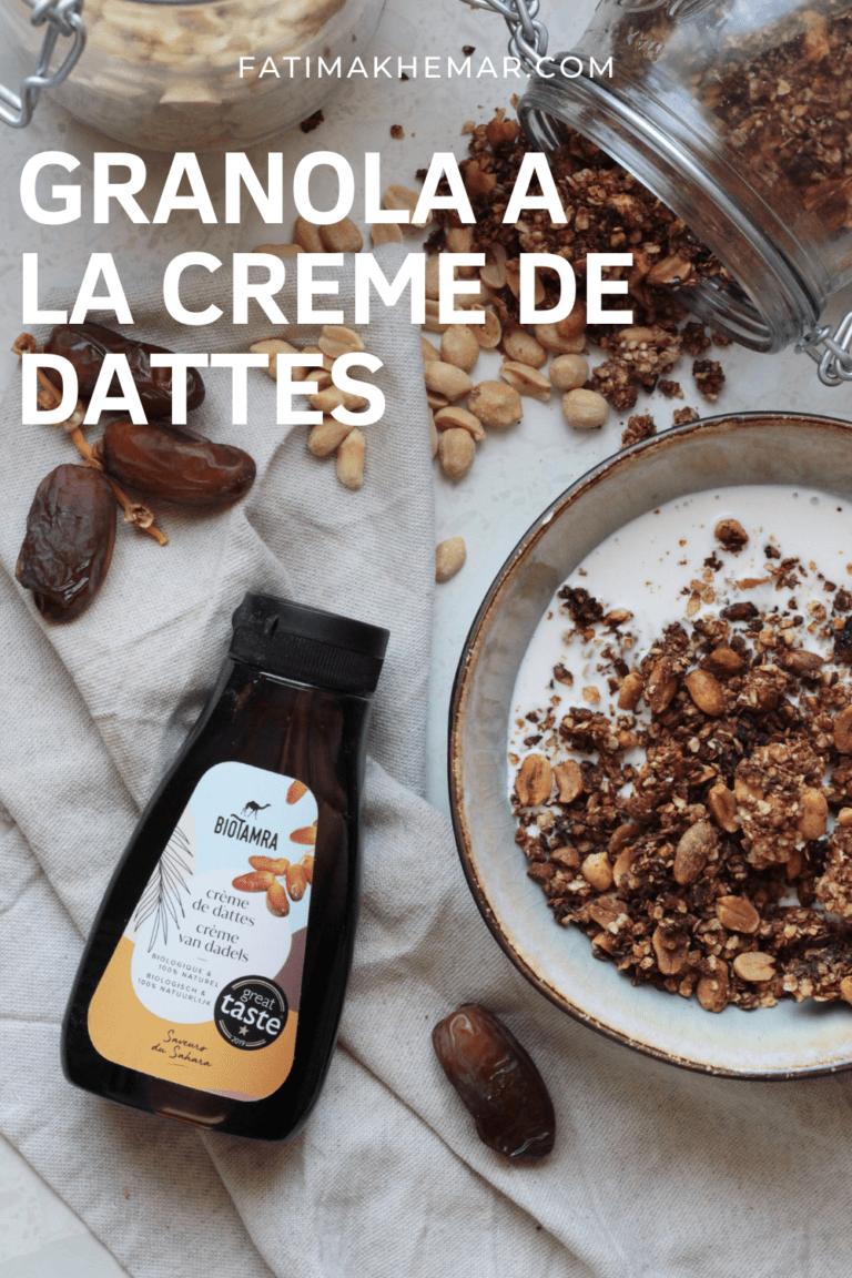 Granola à la crème de dattes cacahuètes et fleur d'oranger